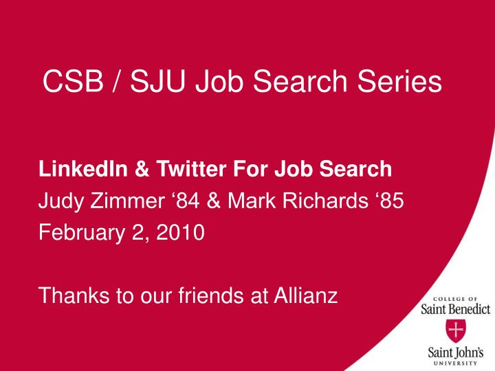 csb sju job search series n.