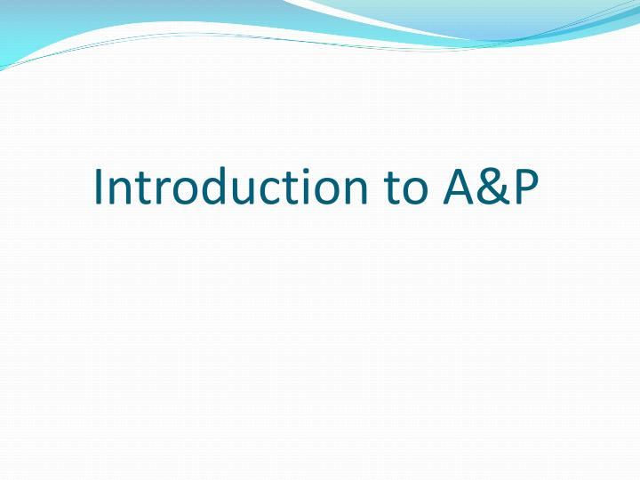 introduction to a p