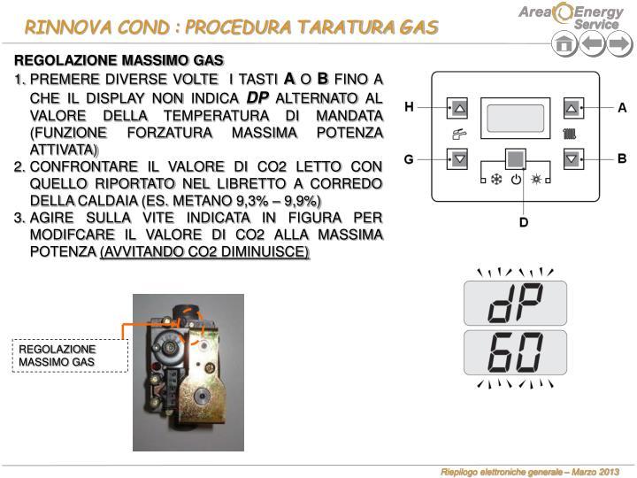 RINNOVA COND : PROCEDURA TARATURA GAS