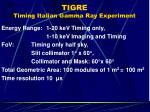 tigre timing italian gamma ray experiment