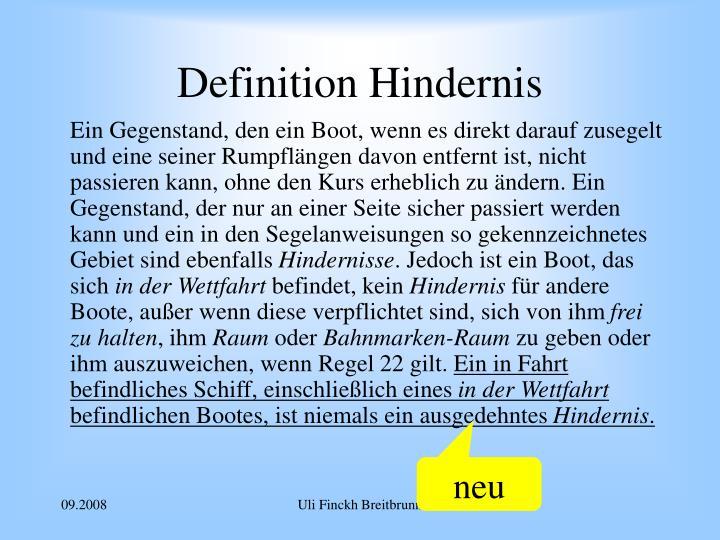 Definition Hindernis