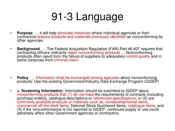 91-3 Language