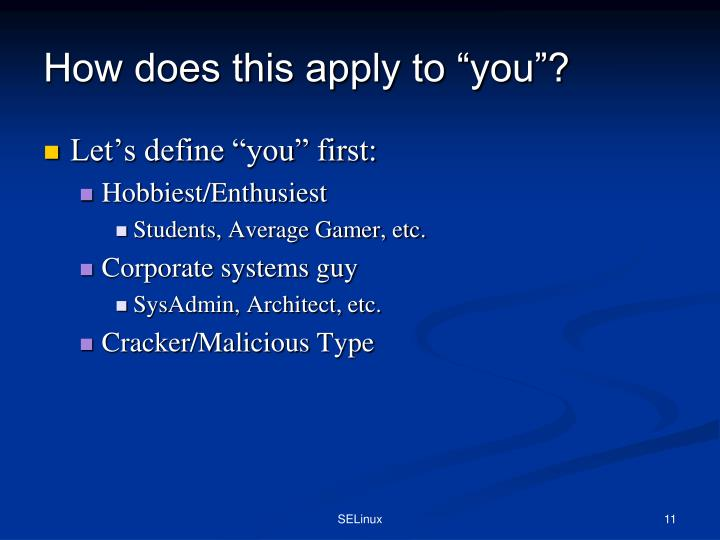 """How does this apply to """"you""""?"""