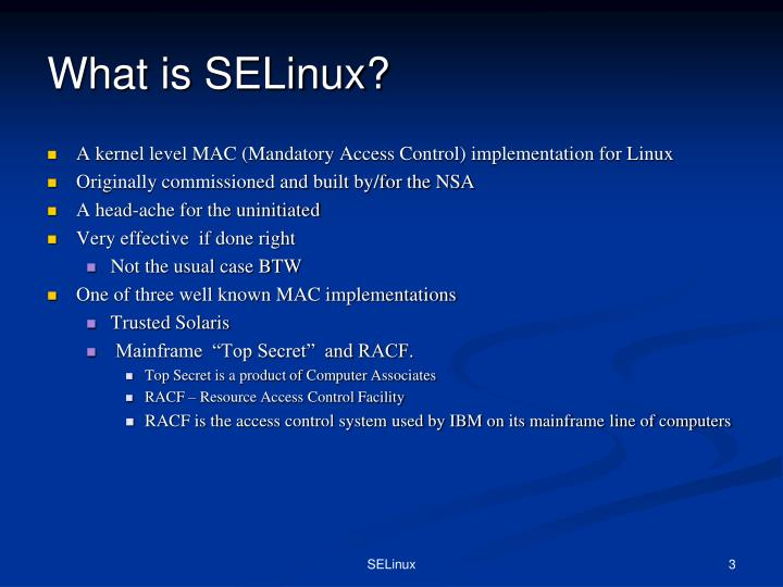 What is selinux