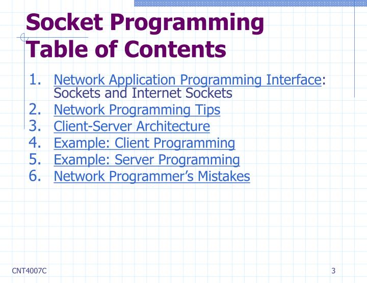Socket programming table of contents