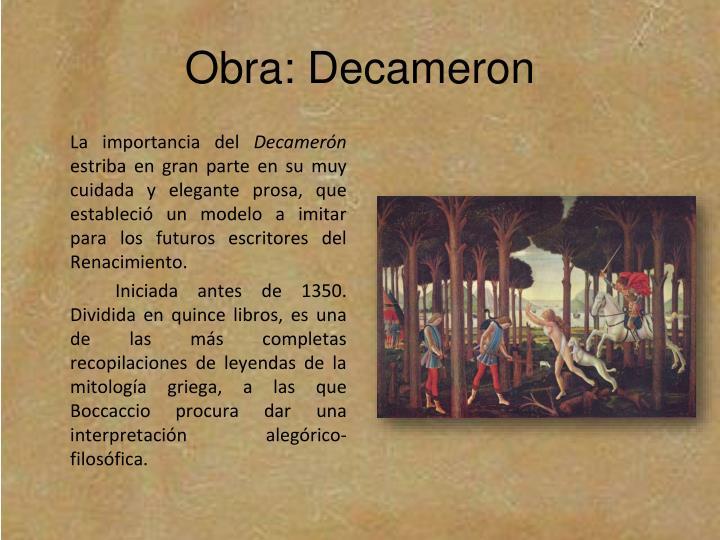 Obra: Decameron