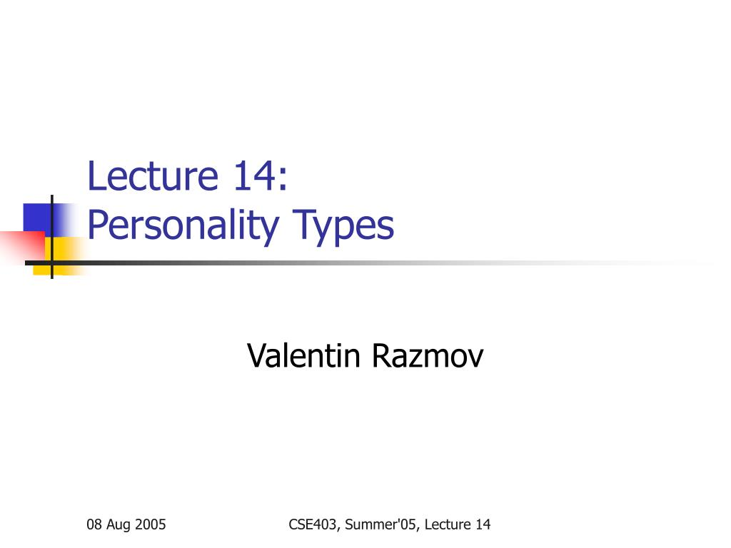 lecture 14 personality types n.