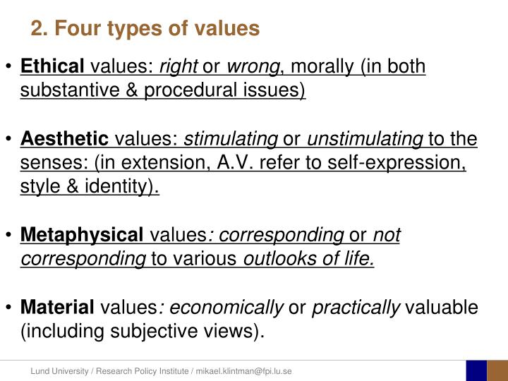 types of values in ethics Assistance to teachers who wish to integrate ethics and values into their pre-college science classes chapter 1 is a discussion of a book that descibes the effect of the insertion of ethics/values into the teaching of science which rests on the assumption that ethics and the roles of ethics in science.