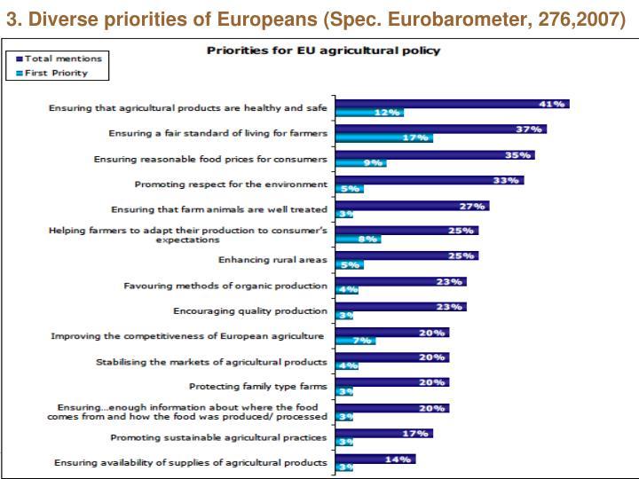 3. Diverse priorities of Europeans (Spec. Eurobarometer, 276,2007)