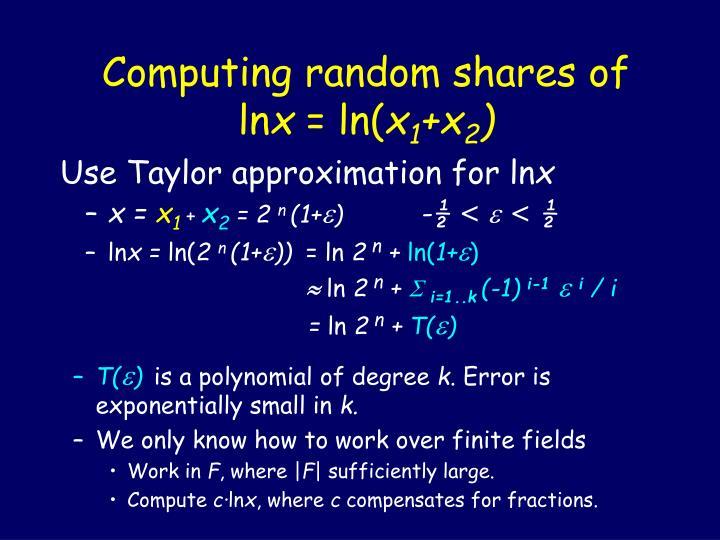 Computing random shares of