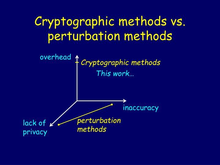 Cryptographic methods vs perturbation methods