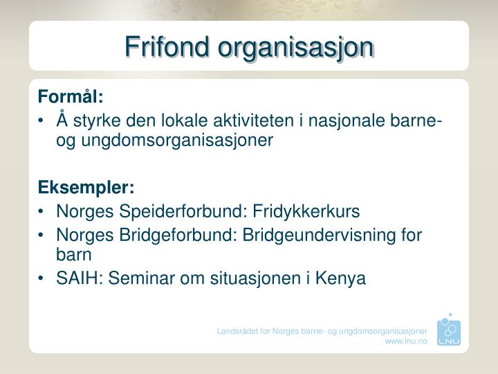 Frifond organisasjon