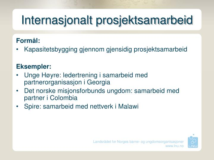 Internasjonalt prosjektsamarbeid
