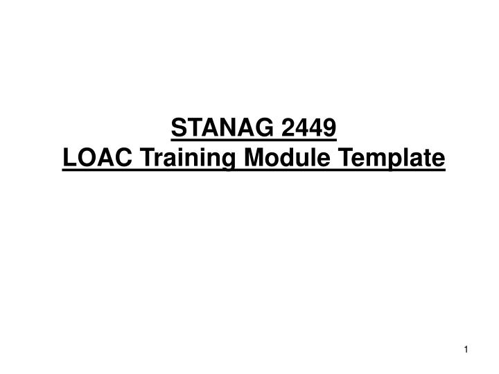 PPT - STANAG 2449 LOAC Training Module Template PowerPoint ...