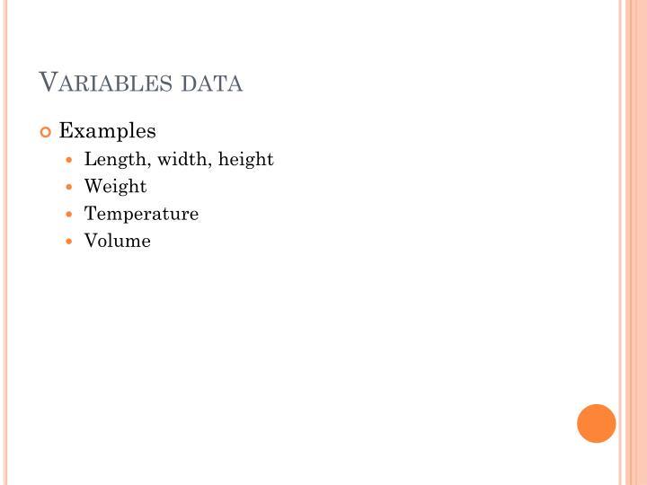 Variables data