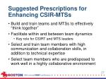 suggested p rescriptions for enhancing csir mtss