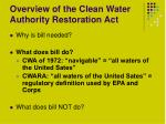 overview of the clean water authority restoration act2