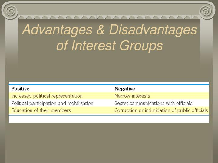 the advantages of interest groups in canada The lack of sufficient resources for eradicating hunger will continue to put at risk the life of many vulnerable groups and  little interest  advantages in.