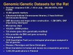 genomic genetic datasets for the rat