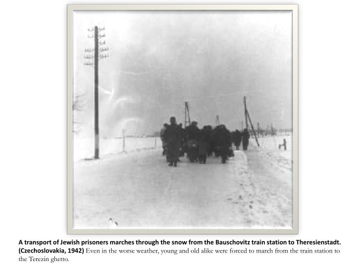 A transport of Jewish prisoners marches through the snow from the Bauschovitz train station to Theresienstadt.