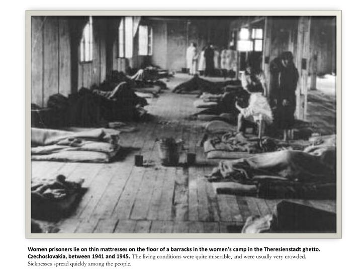Women prisoners lie on thin mattresses on the floor of a barracks in the women's camp in the Theresienstadt ghetto. Czechoslovakia, between 1941 and 1945.
