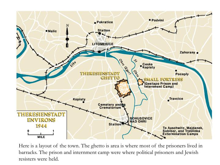 Here is a layout of the town. The ghetto is area is where most of the prisoners lived in barracks. The prison and internment camp were where political prisoners and Jewish resisters were held.