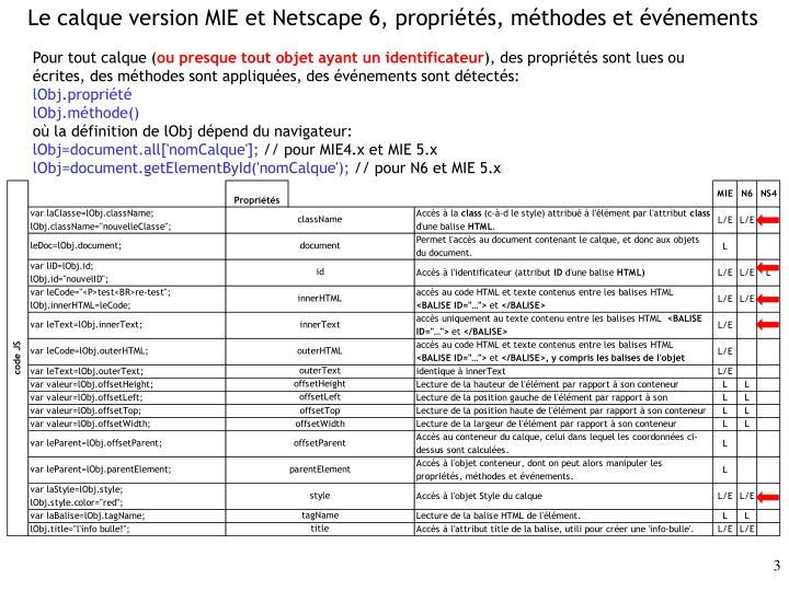 Le calque version MIE et Netscape 6, propriétés, méthodes et événements