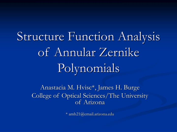 structure function analysis of annular zernike polynomials n.