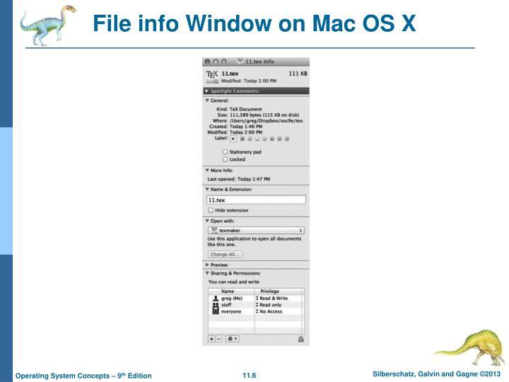 File info Window on Mac OS X