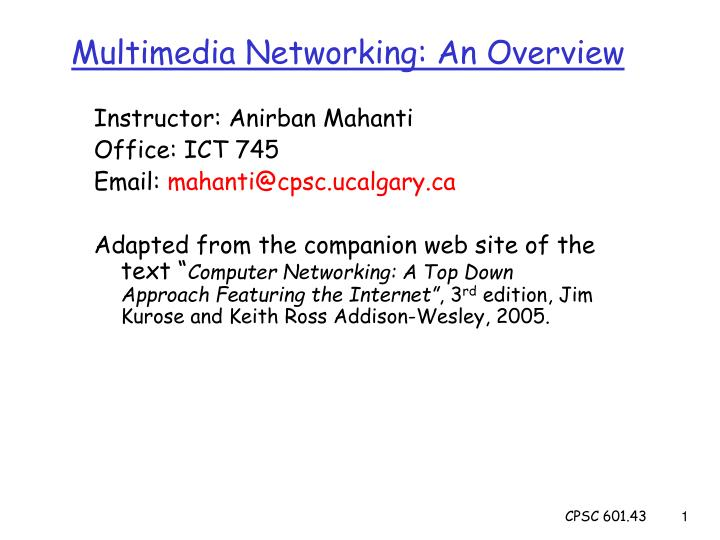 multimedia networking an overview n.