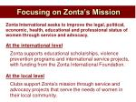focusing on zonta s mission