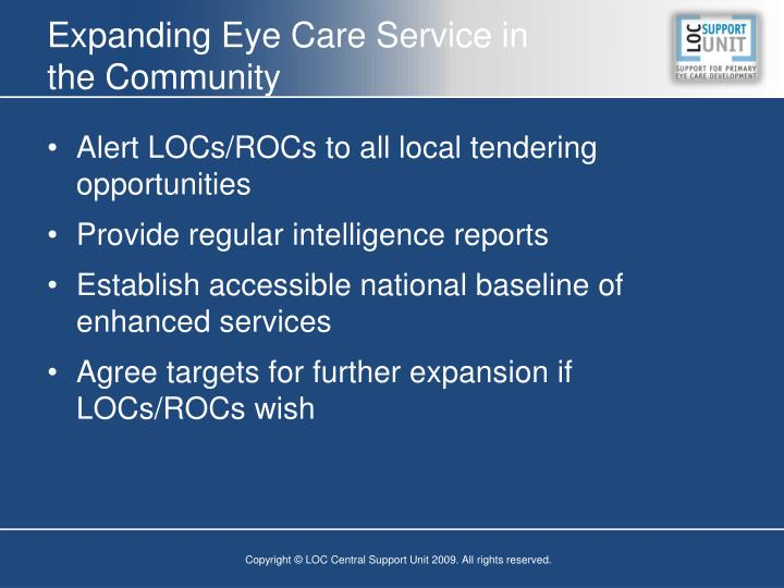 Expanding Eye Care Service in