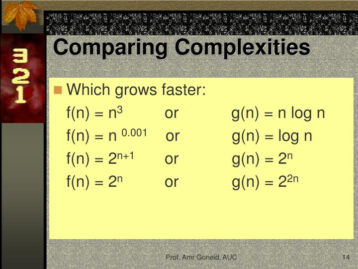 Comparing Complexities