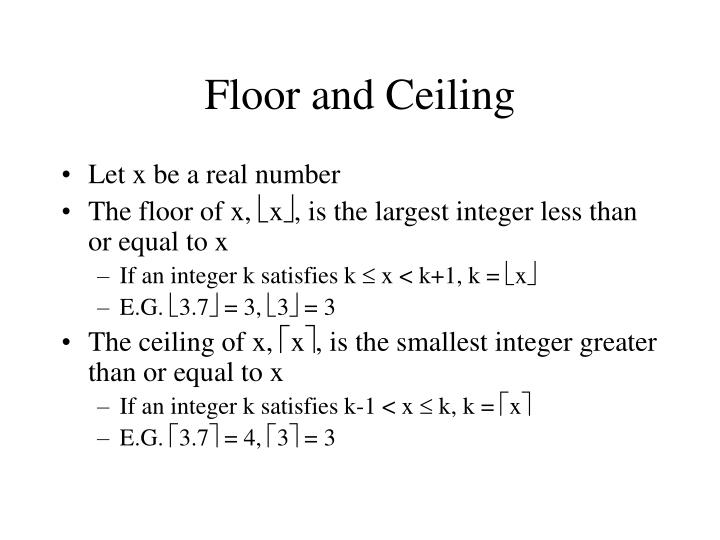 Floor and Ceiling