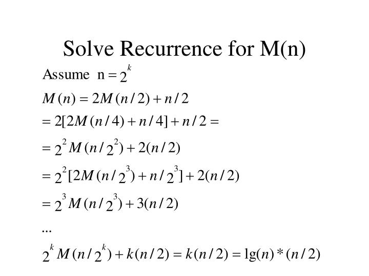 Solve Recurrence for M(n)
