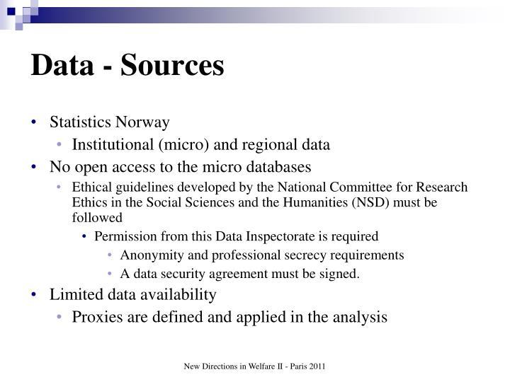 Data - Sources