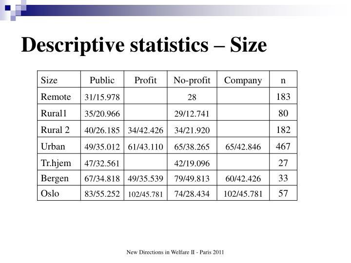 Descriptive statistics – Size