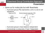 flowsheet group contribution approach