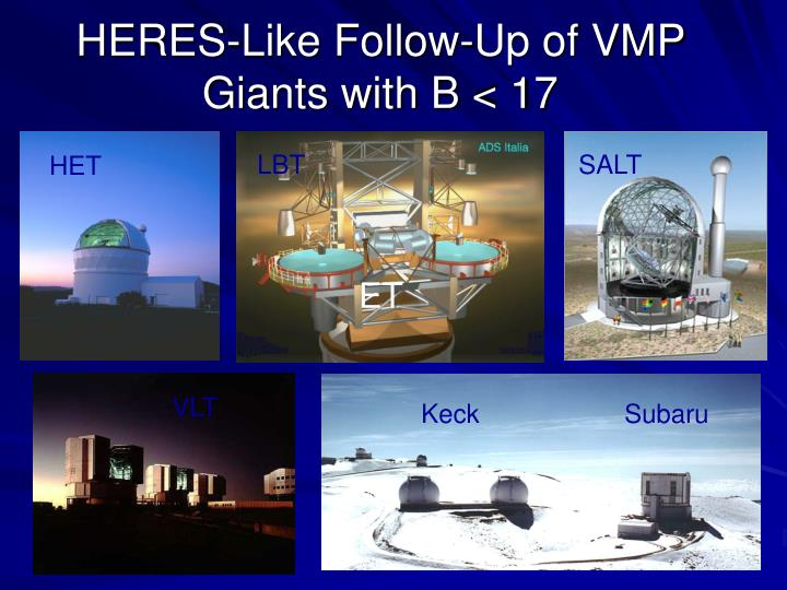 HERES-Like Follow-Up of VMP Giants with B < 17