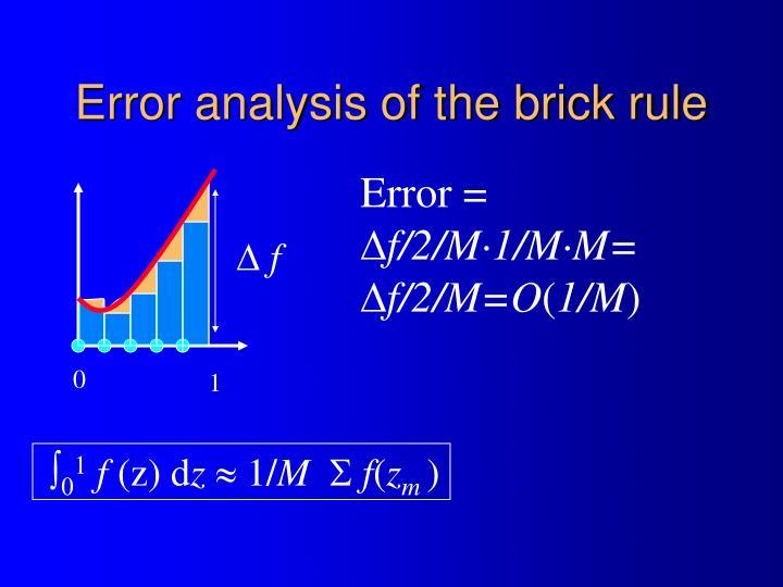 Error analysis of the brick rule