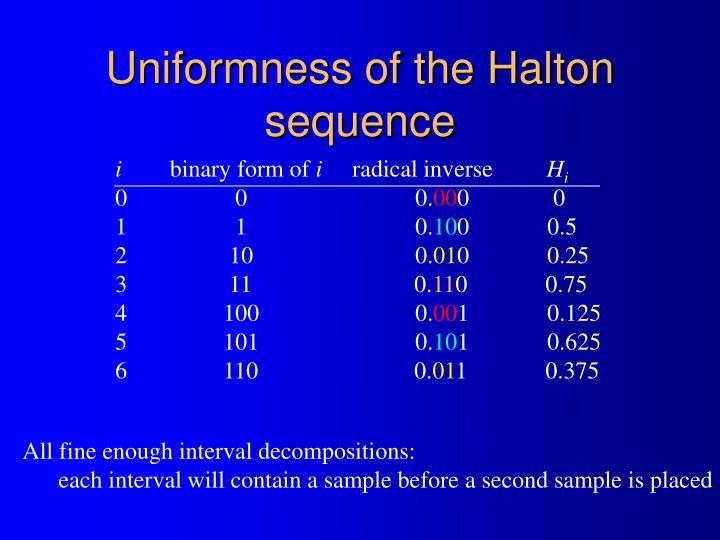 Uniformness of the Halton sequence