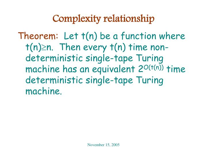 Complexity relationship