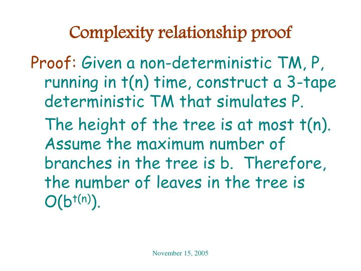 Complexity relationship proof