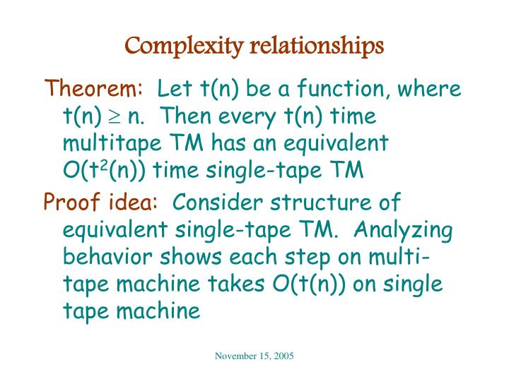 Complexity relationships