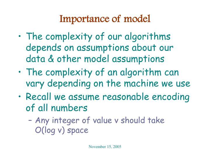 Importance of model