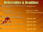 deliverables deadlines
