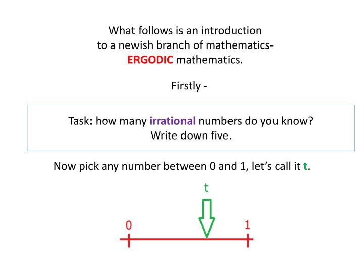 What follows is an introduction to a newish branch of mathematics ergodic mathematics