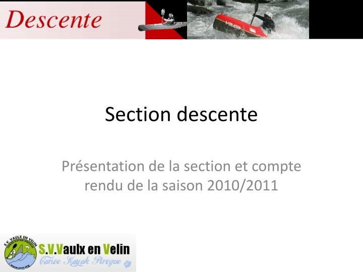 section descente n.