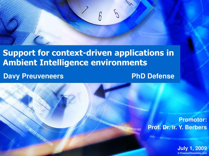 support for context driven applications in ambient intelligence environments n.