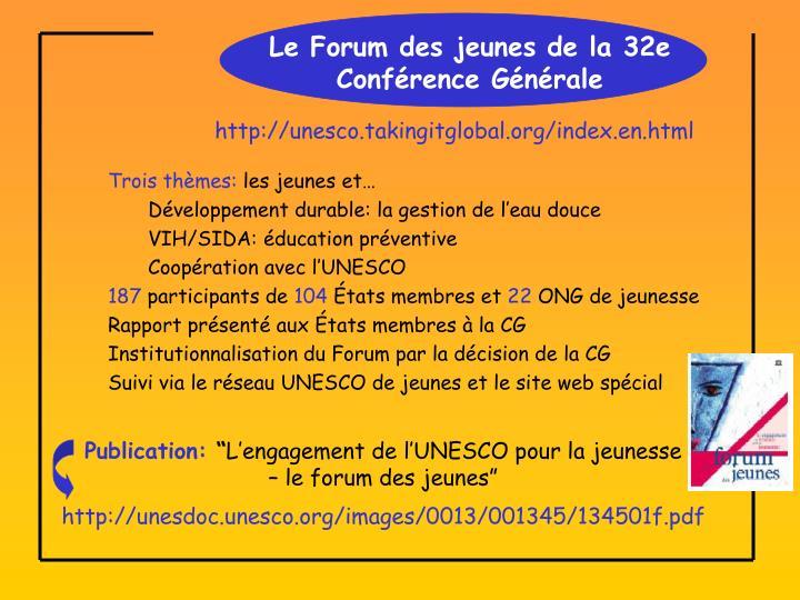 Le Forum des jeunes de la 32e Conférence Générale